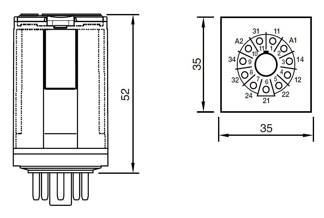 Габаритный чертеж C3-N34/DC12V