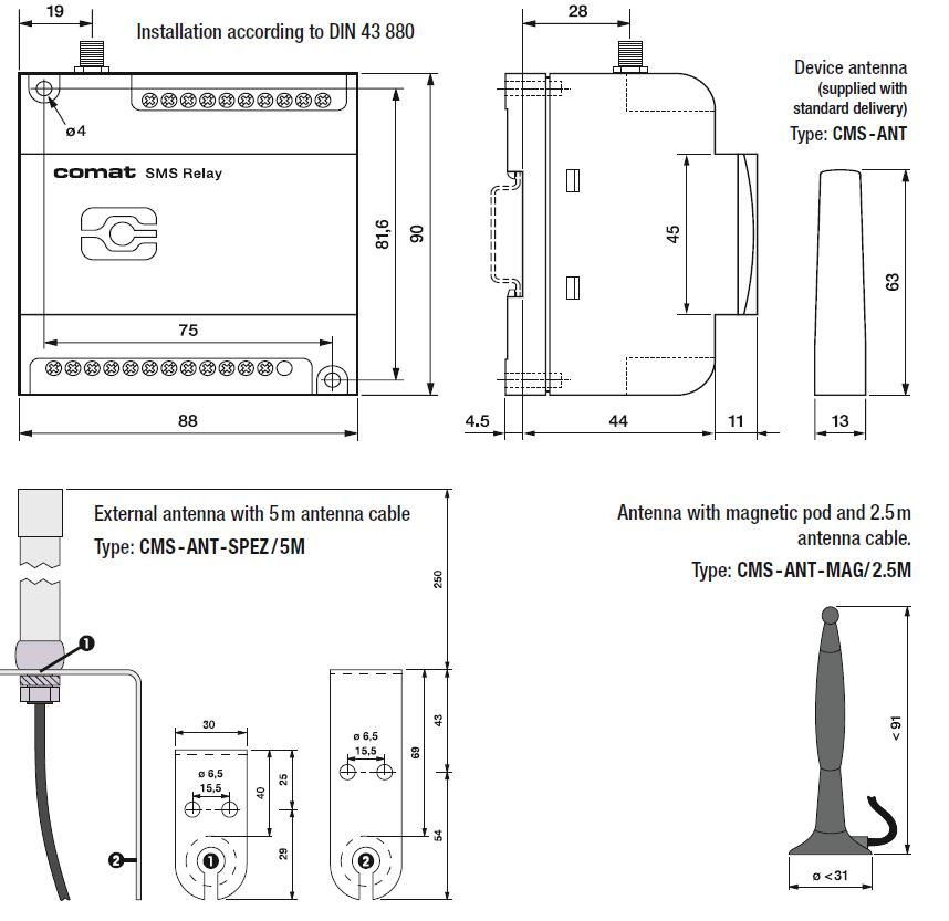 Габаритный чертеж CMS-10KIT/AC110-240