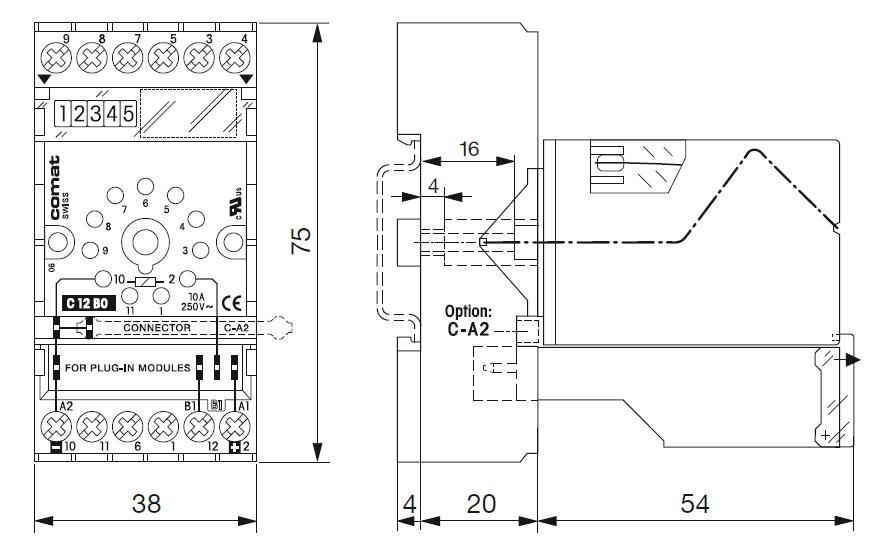 Габаритный чертеж CT32/UC230V