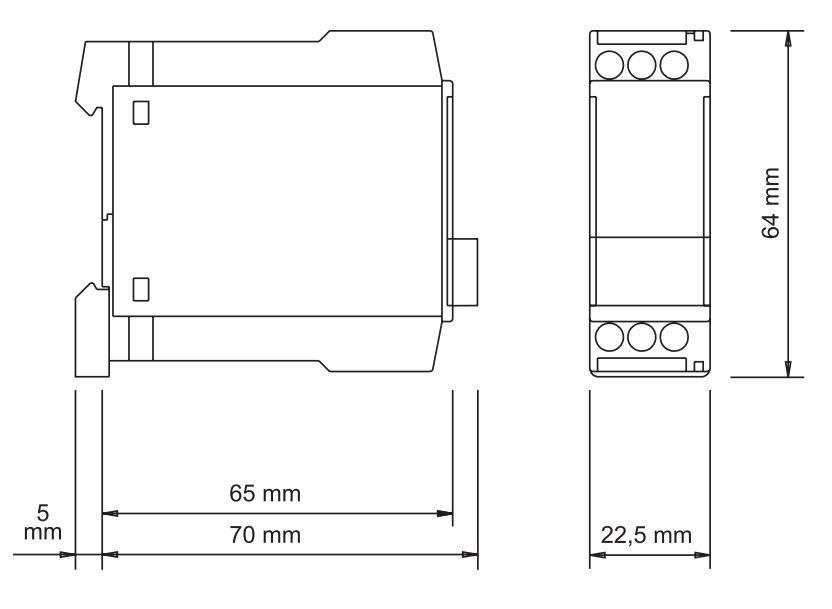 Габаритный чертеж D6A 10MIN 24-240VAC/DC