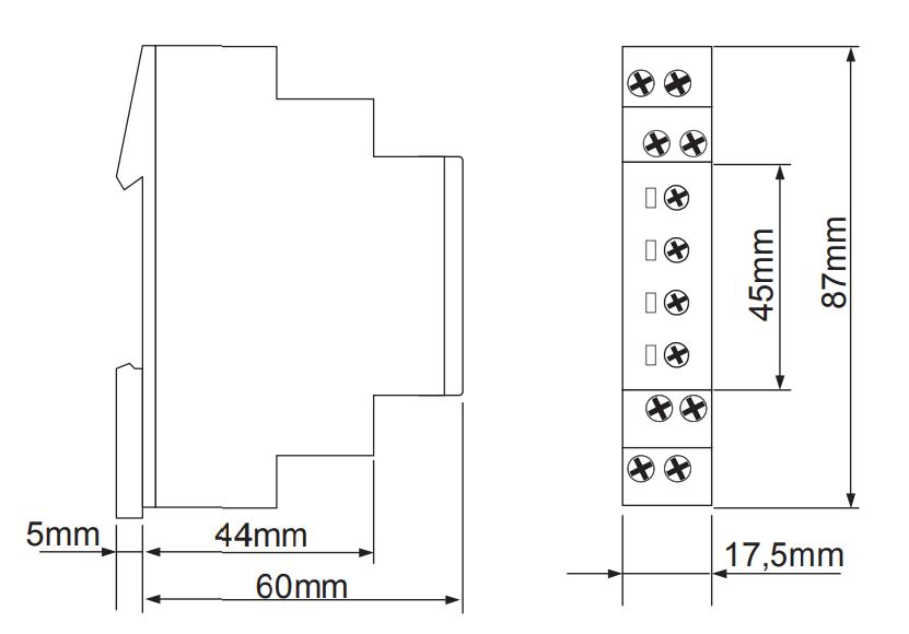 Габаритный чертеж E1Z1E10 24-240VAC/DC (VE10)