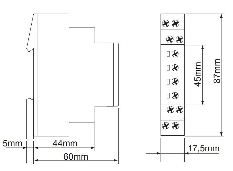 Габаритный чертеж E1Z1ER10 24-240V AC/DC (VE10)