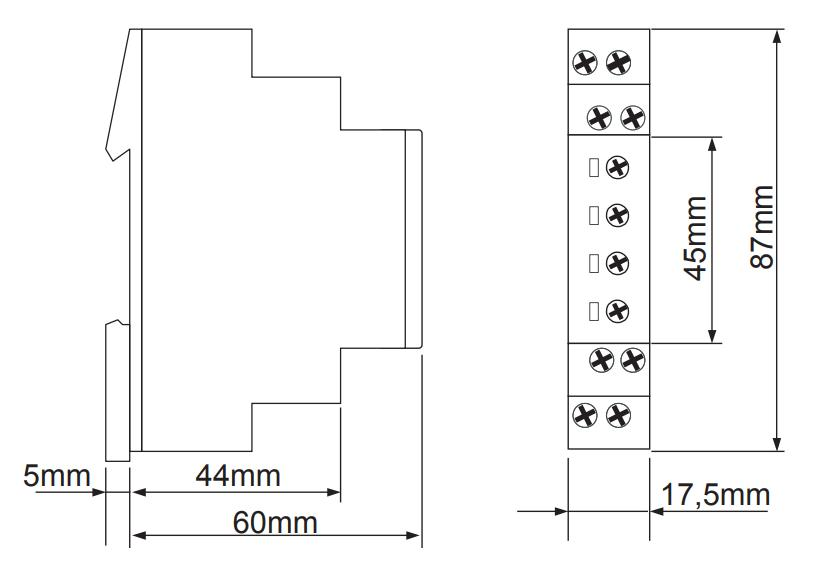 Габаритный чертеж E1ZI10 12-240VAC/DC