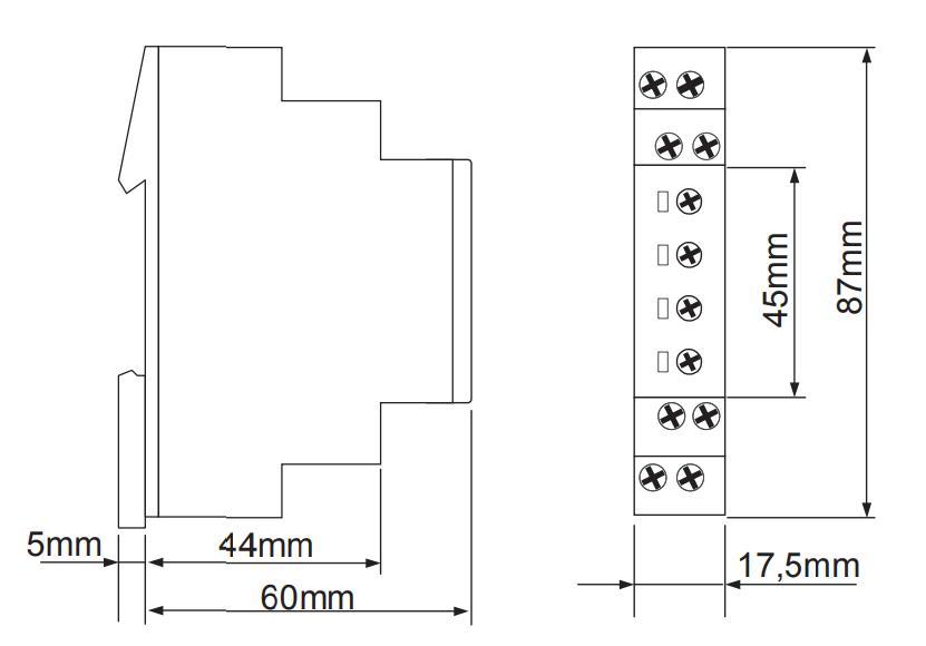 Габаритный чертеж E1ZM10 24-240VAC/DC (VE10)