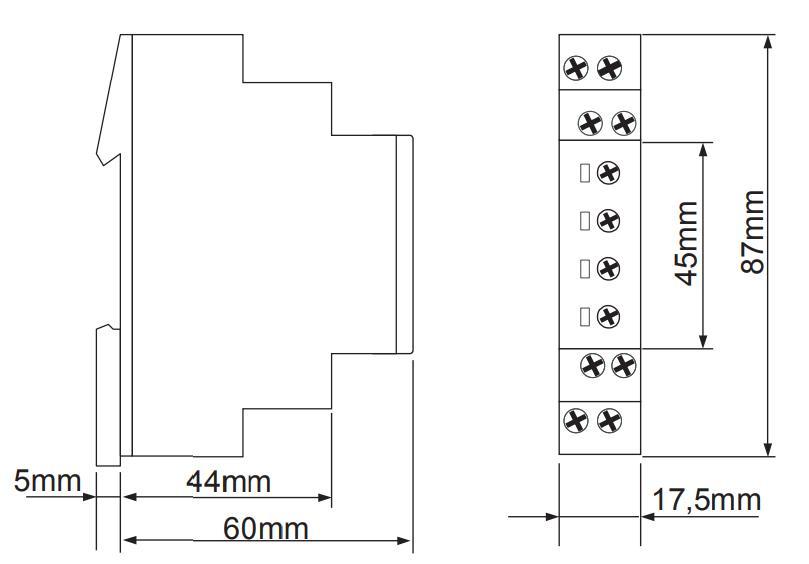 Габаритный чертеж E1ZM20 24-240V AC/DC