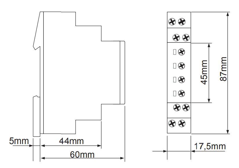 Габаритный чертеж E1ZMW10 24-240VAC/DC (VE10)