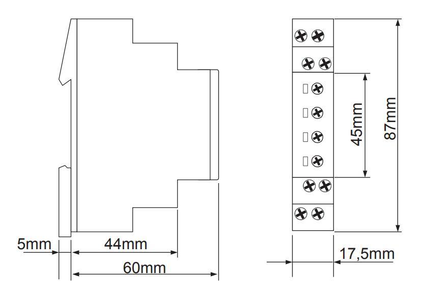 Габаритный чертеж E1ZNT 230VAC