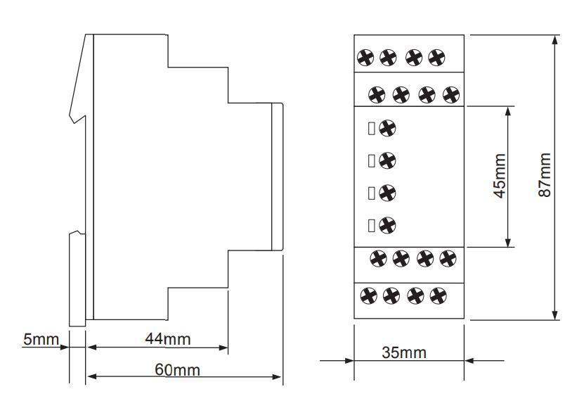 Габаритный чертеж E3ZM20 12-240VAC/DC