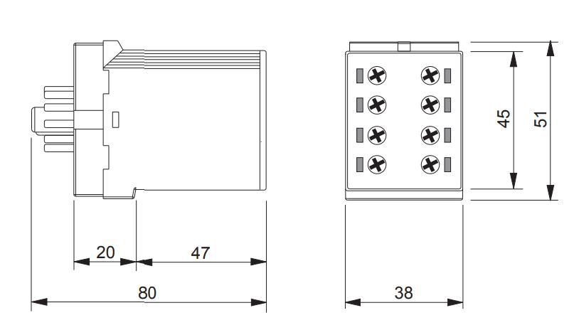 Габаритный чертеж K3ZI20 12-240V AC/DC