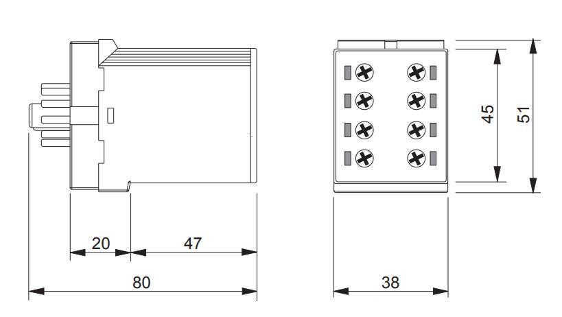 Габаритный чертеж K3ZIF20 24V AC/DC 110-240V AC