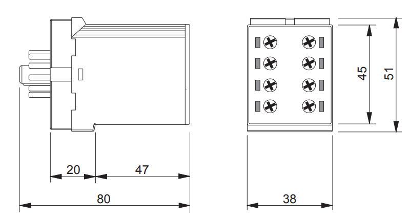 Габаритный чертеж K3ZM11 24V AC/DC 110-240V AC