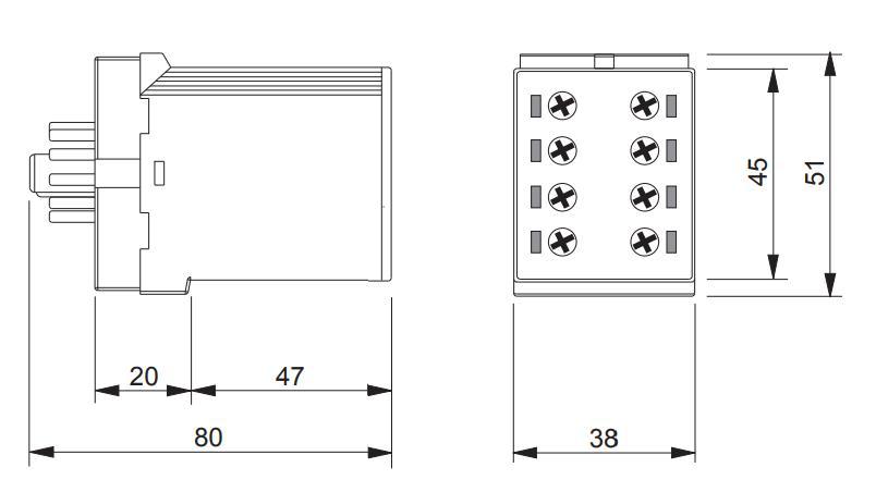Габаритный чертеж K3ZM20P 12-240V AC/DC