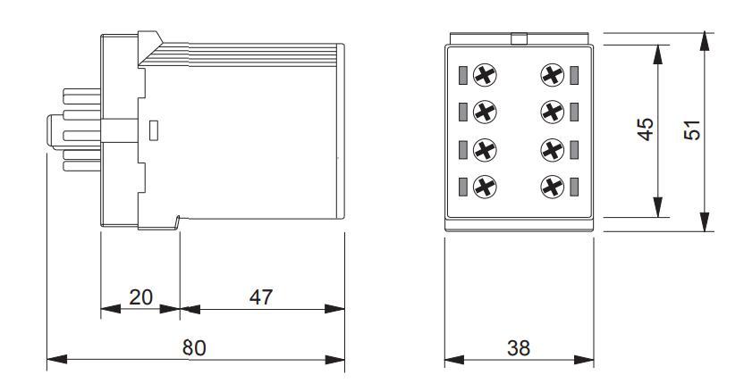 Габаритный чертеж K3ZM20 12-240V AC/DC