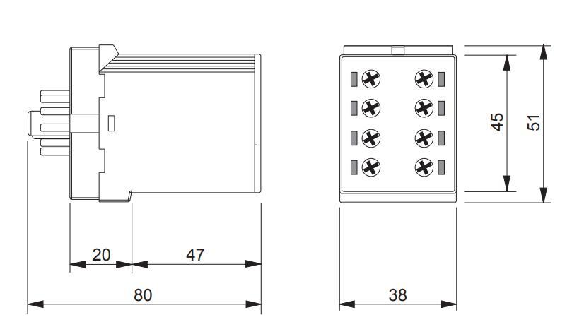 Габаритный чертеж K3ZS20 12-240V AC/DC