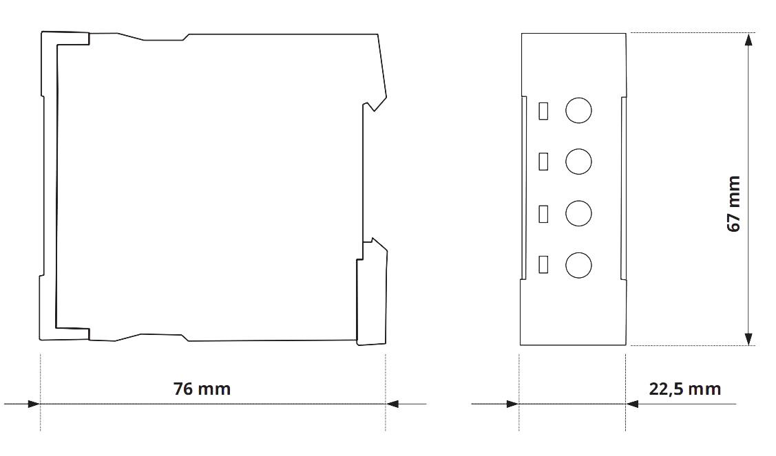Габаритный чертеж V2ZA10 3MIN 24-240V AC/DC