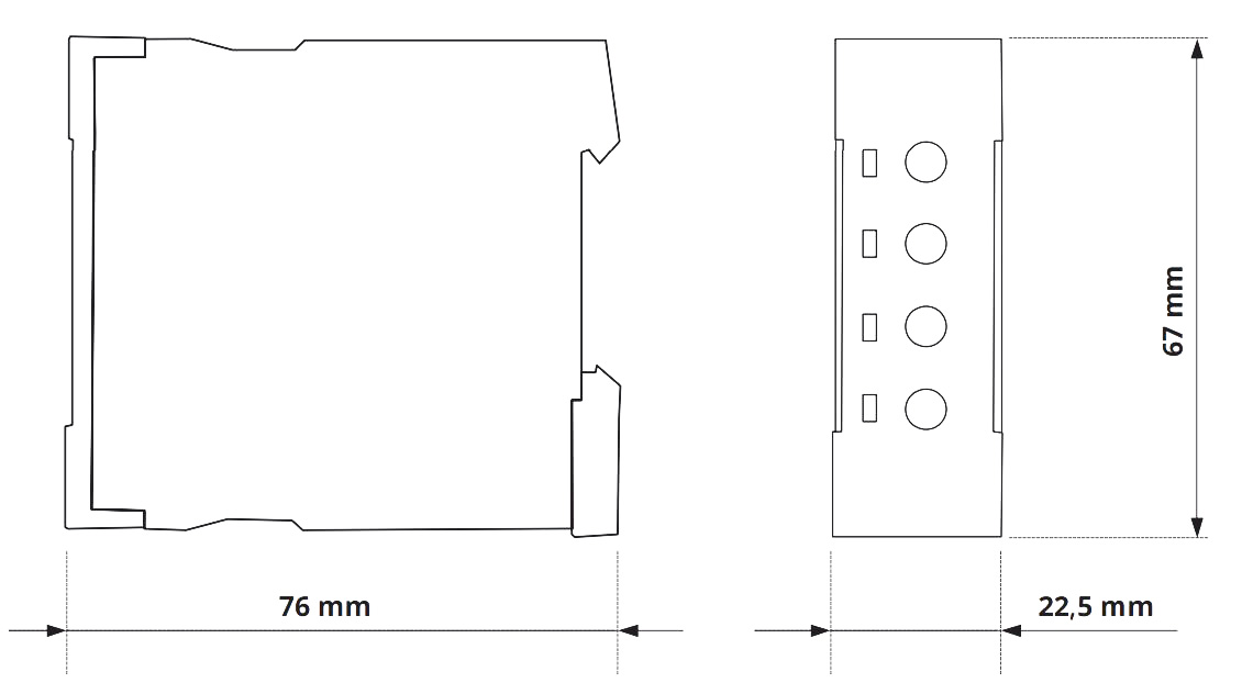 Габаритный чертеж V2ZE10 24-240V AC/DC