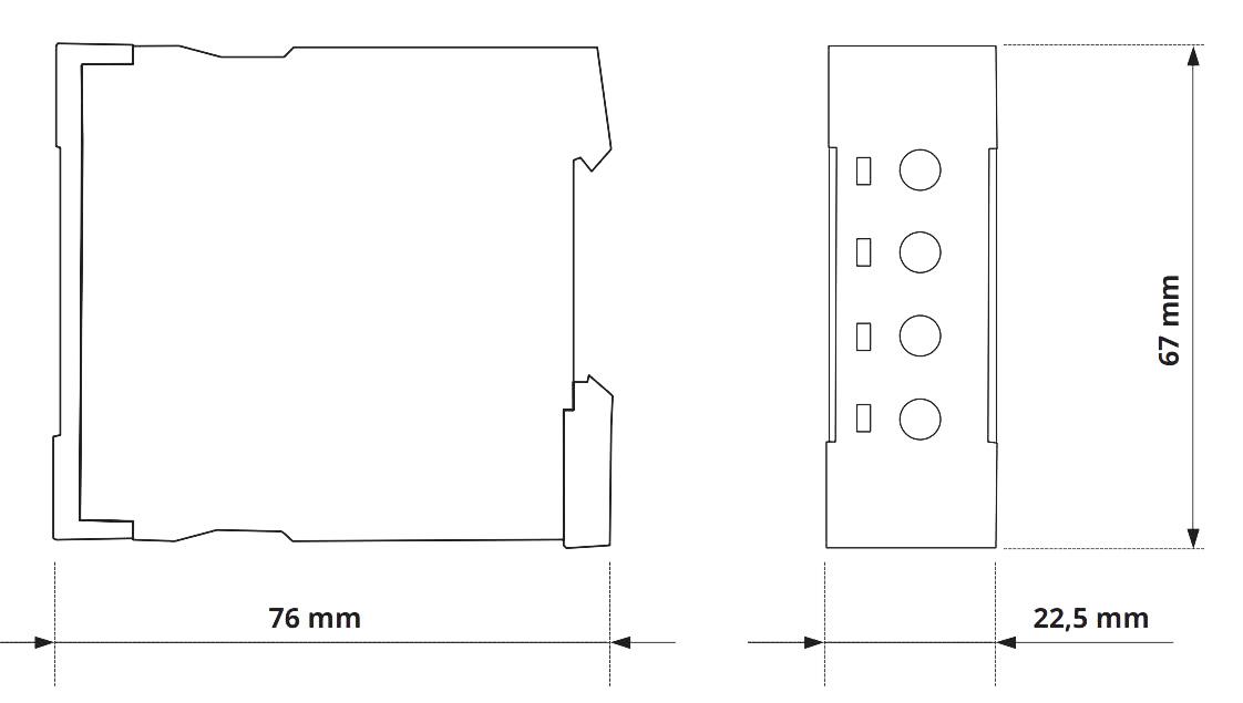 Габаритный чертеж V2ZET 12-240V AC/DC