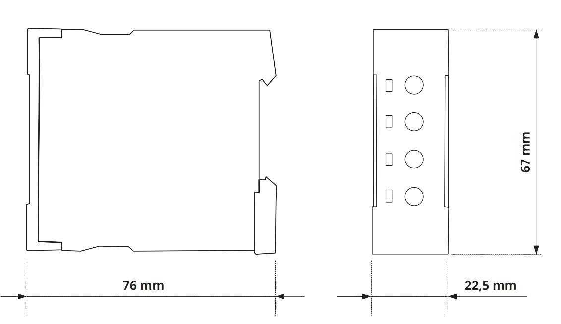 Габаритный чертеж V2ZI10 12-240V AC/DC
