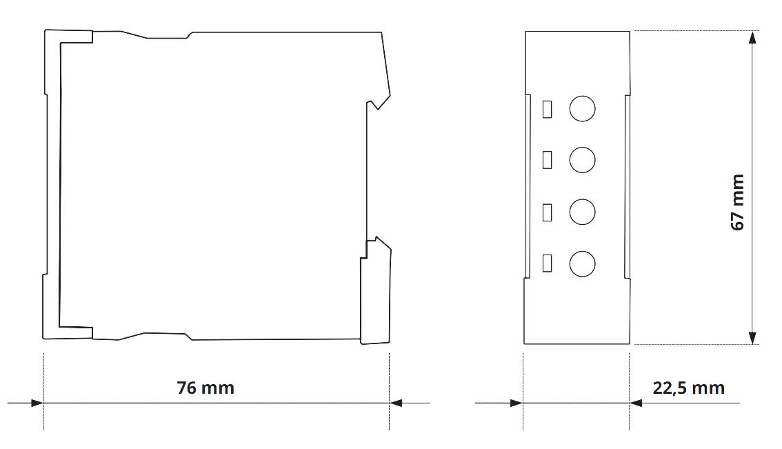 Габаритный чертеж V2ZM10-A 12-240V AC/DC-VE 10