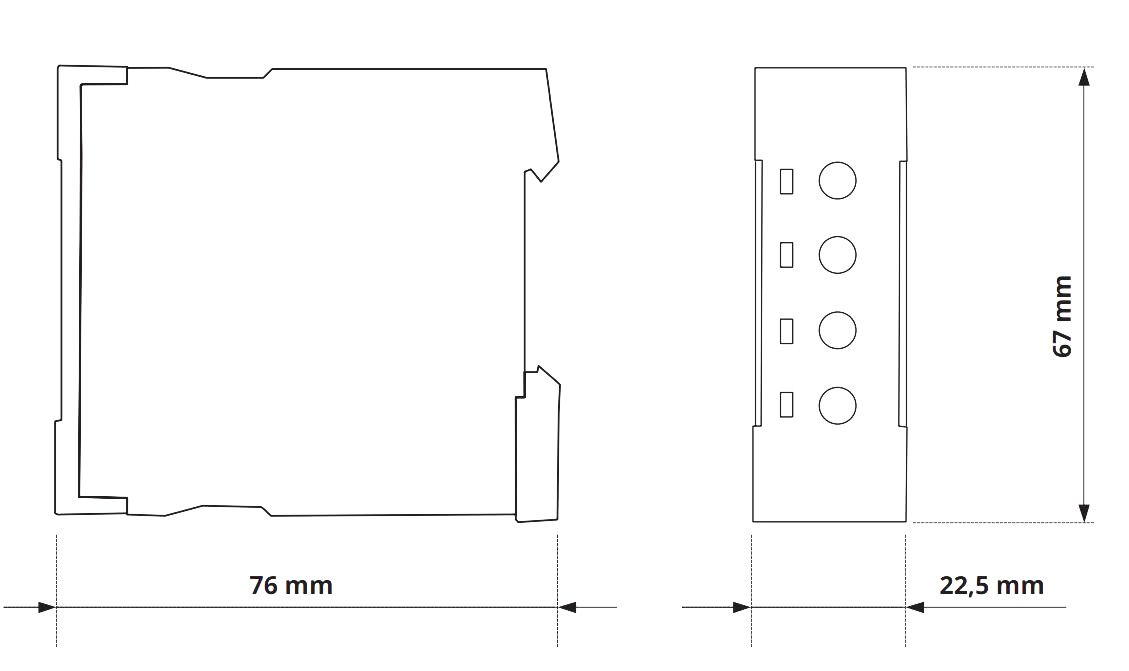 Габаритный чертеж V2ZM10 12-240V AC/DC