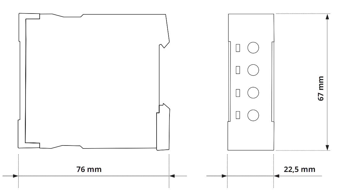 Габаритный чертеж V2ZQ10P 24-240V AC/DC