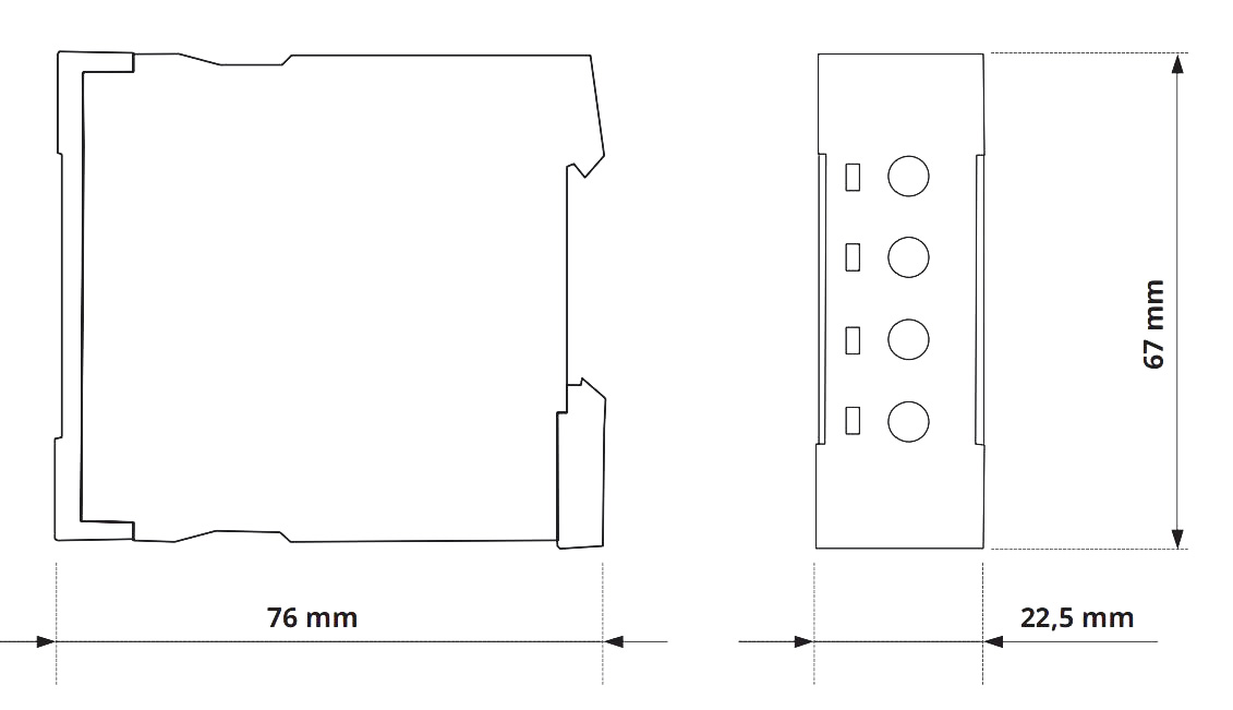 Габаритный чертеж V2ZR10 24-240V AC/DC - VE 10