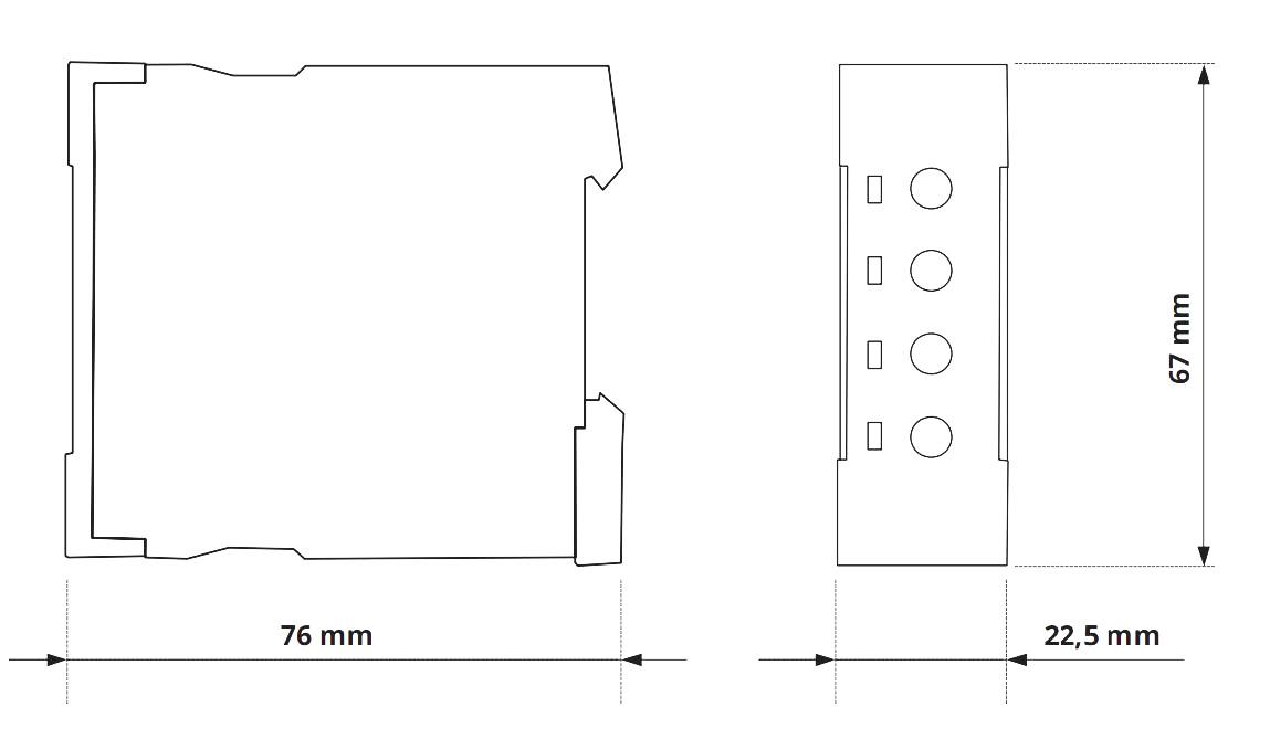 Габаритный чертеж V2ZS20 12-240V AC/DC