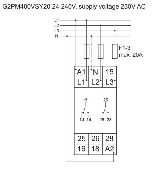 Схема подключения G2PM400VSY20 24-240VAC/DC