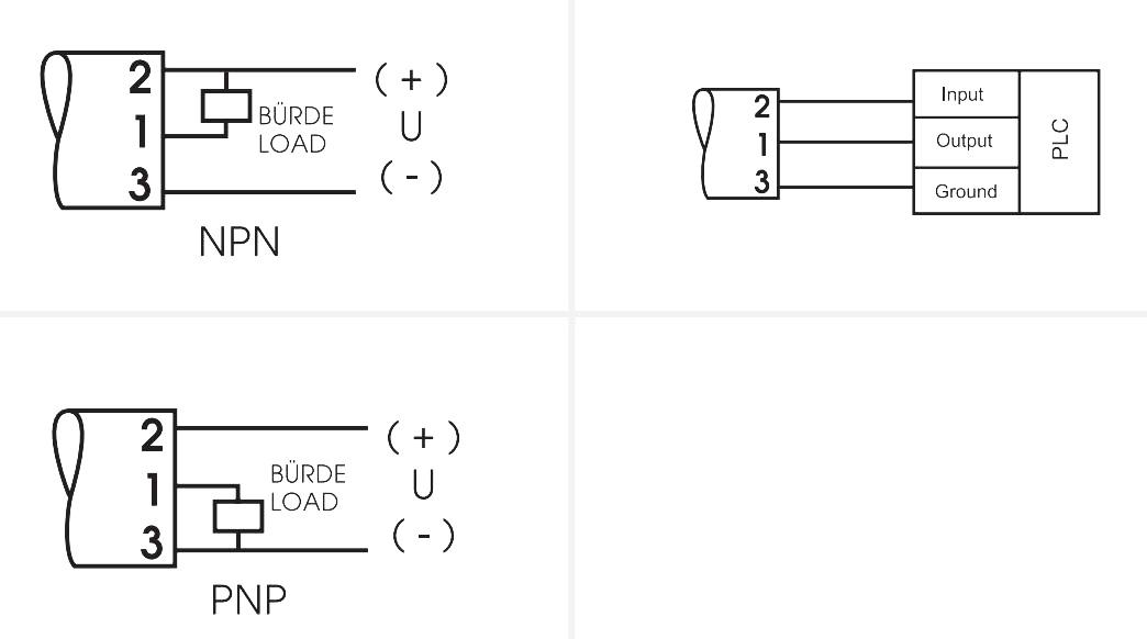 Схема подключения SRE2-PNP 1SEC 24VDC
